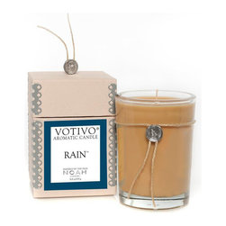 Votivo Rain Candle Inspired By Noah - RAIN is from the VOTIVO vault of vintage fragrances and was on Oprah's Favorite Things list in August 2002, now re-released to celebrate the movie NOAH. Votivo aromatic candles in Rain transform your home into your very own paradise island. Get swept away every time you light one of Votivo's hand poured scented candles. Votivo Rain has a subtle essence of a damp early fall afternoon. Rain is a gentle blend of moisture-laden sage infused with a rush of clean fresh air.  The Votivo candle Rain is hand-made in the USA using 7.3oz of highly scented soy wax and a lead-free, cotton wick. Votivo candles have an estimated burn time of 50 hours.
