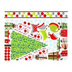 Pop & Lolli - Fabric Decals  Christmas Overlay - Santa Sings and Angels Bring. Made from special glory and many a story.