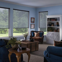 Solar Shades to preserve your view - Roller Shades are versatile and can be customized to suit any space. Available in a wide variety of colors, textures, and opaqueness.