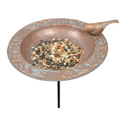 Whitehall Products LLC - Chickadee Garden Bird Feeder - Copper Verdi - Features: