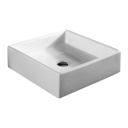 Caracalla - Square White Ceramic Vessel Bathroom Sink, No Hole - Modern design, square white ceramic vessel bathroom sink with no hole. Stylish above counter washbasin comes without overflow. Made in Italy by Caracalla.