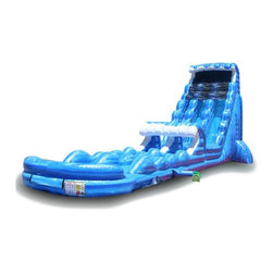 EZ Inflatables - EZ Inflatables 27 ft. Tsunami Water Slide Multicolor - WS213 - Shop for Sand and Water Toys from Hayneedle.com! Ride the tsunami all the way down! The EZ Inflatables 27 ft. Tsunami Water Slide is commercial-grade for extra durability has a fun wave theme kids love and is sure make your home or side business awesome this summer. Twin slides mean two kids can go down at once the built-in ladder offers easy access and the mesh tarp attaches at the top to keep kids safely in play on their way down. This water slide offers a comfortable ride with side bumpers and a smart pool at the bottom that keeps everyone safe as they slip slide down. A complete set you get the massive slide 1.5 HP blower handy patch kit with glue and anchor stakes to keep it in place.About EZ InflatablesEZ inflatables Inc. has over 14 years of experience designing engineering and creating fun in the form of inflatable jumpers moonwalks and water slides. They have quickly become a leading worldwide supplier in the party rental industry. EZ Inflatables creates safe high performance inflatables that are built to last. All of their inflatables are made tough of the finest quality 18.5 ounce PVC coated vinyl with heavy-duty nylon thread and reinforced rainbow netting windows on all sides.
