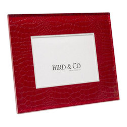 Belle & June - Red Croc Frame - This exquisite, unique frame incorporates elegant patterns within a Lucite panel. The panel depth creates a luminous fresh look perfect for any home decor. The frames are sophisticated, fun and timeless. Comes in gift box. Hand crafted in the USA.