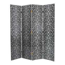 Wayborn - Wayborn Hand Painted Yuenchai Room Divider in Black/Silver - Wayborn - Room Dividers - 2277 - Wayborn hand painted screens start with a cedar plywood frame covered in a cheesecloth material. Then layer after layer of plaster is applied; each layer must dry before another layer can be applied. After all the plaster has been applied several coats of lacquer is put over the entire surface. At that time the artist begins to sketch out the painting directly on the panels of the screen and begins painting the design with water based paint.  Each one of these screens has its own characteristics and is truly a work of art.