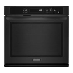 "KitchenAid - KEBS179BBL 27"" Single Electric Wall Oven with 4.3 cu. ft.  True Convection  Self - KitchenAid has spent decades creating innovative products for the well-equipped kitchen From commercial grade cooktops and wine cellars to stand mixers and an impressive assortment of cookware bakeware and accessories they offer virtually every culin..."
