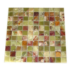 Green Polished Square-Pattern Onyx Tiles, 50 Sheets - 1 in. x 1 in. Green Mesh-Mounted Square Pattern Onyx Mosaic Tile is a great way to enhance your decor with a traditional aesthetic touch. This polished mosaic tile is constructed from durable, impervious onyx material, comes in a smooth, unglazed finish and is suitable for installation on floors, walls and countertops in commercial and residential spaces such as bathrooms and kitchens.