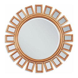 "Acme - Gold Finish Sunburst Geometric Design Hanging Wall Mirror - Gold Finish Sunburst Geometric Design Hanging Wall Mirror. Measures 36""Dia."