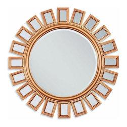 "ACMACM97059 - Gold Finish Sunburst Geometric Design Hanging Wall Mirror - Gold Finish Sunburst Geometric Design Hanging Wall Mirror. Measures 36""Dia."
