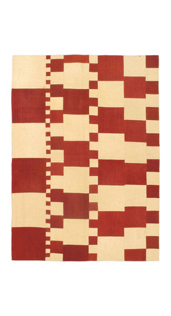 """Torabi Rugs - Flat-weave Bohemian Cream Wool Kilim 5'7"""" x 7'10"""" - This patchwork rug is made of vintage classic kilim pieces which are sewn together to form a truly one of a kind larger rug. This quirky and eclectic piece is painstakingly hand stitched. Light weight, this can also be used as a bedspread or throw. A colorful and updated vision of style, color and texture."""
