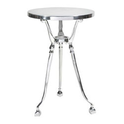 Lanston Aluminum Accent Table - An accent table with feigned modesty, this polished aluminum piece is perfect for a small touch of style.