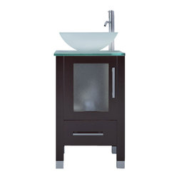 "JWH Imports - 17.75"" Soft Focus Small Vessel Sink Modern Contemporary Bathroom Vanity Cabinet - With simple lines and space-saving size, this bathroom vanity is anything but small on charm. Capped with a frosted glass counter and glass vessel sink, this impressive fixture is constructed of natural oak, built to last a lifetime, and boasts frosted glass in the cabinet door plus a bottom drawer for bonus storage space."