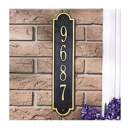 """Frontgate - Richmond House Number Plaque - Handmade from corrosion-resistant, recycled alumium. Weather-resistant surface coating. Personalize with up to five 3"""" characters. 4"""" gold characters/black ground. Hanging hardware included. The rich black and gold palette of the Richmond House Number Plaque announces your address stylishly. This easy-to-read plaque is hand-cast in durable, recycled aluminum and sealed to survive in any weather.  .  .  .  .  . Made in the USA. Please check for accuracy; personalized orders cannot be modified, cancelled, or returned after being placed."""
