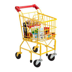 Ecr4kids - Ecr4Kids Kids Pretend Play Steel Shopping Toy Cart With Swivel Casters - Brightly colored steel shopping cart, complete with swivel casters, stability bars, front folding seat and a red accent handle that can be personalized for your child. Includes 12 pieces of wooden food and pantry items.