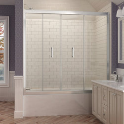 """Dreamline - Butterfly 58 to 58-3/4""""W x 58""""H Bi-Fold Tub Door, Chrome Finish Hardware - The BUTTERFLY Shower Door or Shower Enclosure saves space without compromising great style. The frameless glass design achieves a custom look at an incredible value. The smart bi-fold action allows the panels to slide and fold, creating an ample walk-in opening and maximizing space. Wall profiles provide a flexible installation with adjustment for width and out-of-plumb walls. Give your bathroom renovation a modern touch with the BUTTERFLY."""