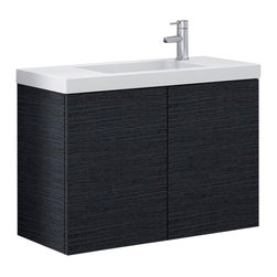 Iotti - Vanity Cabinet With Drop-in Ceramic Sink, Wenge - This sleek wall mounted bathroom vanity set features a cabinet made of engineered wood and a self-rimming bathroom sink made of white ceramic.