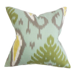 """The Pillow Collection - Bentshaya Ikat Pillow Aquamarine 18"""" x 18"""" - Spruce up your interiors with an eye-catching decor pillow. This throw pillow features a traditional ikat pattern in a refreshing color palette. Aquamarine blue, green, gray, yellow and white hues are highlighted in this interesting throw pillow. US-made and crafted in 100% soft and plush cotton material. Hidden zipper closure for easy cover removal.  Knife edge finish on all four sides.  Reversible pillow with the same fabric on the back side.  Spot cleaning suggested."""