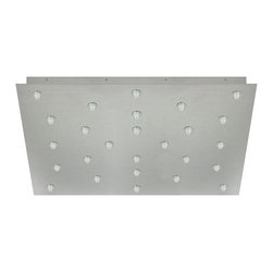 Edge Lighting - Fast Jack 24 Inch Square 26 Port Canopy - Fast Jack 24 Inch Square 26 Port Canopy features twenty six Fast Jack ports and mounts to a standard 4 inch electrical box with plaster ring, or to an octagon box. Finish available in Satin Nickel. Available in a 20 and 26 port version. Includes eight drywall anchors for additional ceiling support. Maximum load is 12 volt, 20 watts for a total of 520 watts. Dimmable with a low voltage electronic dimmer.  Also available in an LED version. ETL listed. 24 inch square x 1.75 inch height.