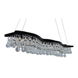 lightupmyhome - 48-inch Double S Rectangular Glass Drop Chandelier - This modern chandelier features 6 lights and a deep, dark, rich oil rubbed bronze finish.  With a curvy S design and large glass drops this chandelier will surely brighten your dining room, kitchen island or billiard room.