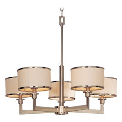 Maxim Lighting - Satin Nickel Chandelier with Drum Lamp Shades - 12055WTSN - Whether you are choosing a chandelier to fit the period of your home or you�ve just always loved the chic look of mid-century modern style, this contemporary/modern chandelier is for you. Sharp clean lines paired with chrome trimmed fabric drum shades make this creation a fabulous addition for your entryway, foyer, or dining room. Together, the specially crafted drum shades and the candelabra lights create a bright filtered light for all to enjoy. This chandelier�s measurements include: a height of 22.75, a width of 22.75, a weight of 8.55lb., with a wire length of 180�. This fixture hangs by a 72� chain (included). Takes (5) 60-watt incandescent flame bulb(s). Bulb(s) sold separately. UL listed. Dry location rated.