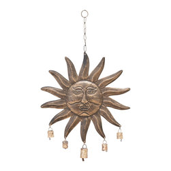Woodland Imports - Celestial Style Sun Face Metal Wind Chimes Bronze Bells Home Patio Decor 26713 - Celestial style serene sun face metal wind chimes in antiqued bronze with bells and chain hanger unique patio decor