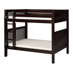 "Camaflexi - Bunk Bed with Mission Headboard - Cappuccino Finish - When your family is growing and your space is not, Camaflexi's ultra durable Bunk Bed collection offers the perfect solution. Constructed of solid wood, the upper bunk features front and rear safety guard rails. Both beds include slat roll foundations reinforced with our unique, extra sturdy, center rail support system. The attached extra wide, grooved step Ladder and safety guard rails are interchangeable so you can position the ladder where you need it. All of our Bunk Beds are built to meet and/or exceed all government and industry safety standards for your ease of mind and to ensure longevity. The handsome Mission style, with our rich, ""child-safe"" multi-step, protective cappuccino finish, will complement any room decor. Optional trundle and/or storage drawers add to this bunk's utility. Choose between open or closed foot boards with the addition of modesty panels. When needed the bunk can be separated into two individual twin beds. Flexibility is what we are all about! The Camaflexi system offers the best in sturdy, eco-friendly and healthy furniture for your growing child's needs.; The attached ladder allows easy access to Storage Drawers or Under Bed Trundle! (Drawers and Trundle Purchased Separately.); Featured in the classy Mission Style to compliment your room decor.; Child-Safe protective finish compliant with US Federal Hazardous Substances Act.; Both beds include a slat roll foundation, with our unique extra sturdy center rail support system for added longevity.; Features our unique extra deep grooved steps on ladder for added safety and comfort when climbing.; Meets and/or exceeds all ASTM and U.S. Government safety standards for Bunk Beds.; Covered by our One Year, Peace of Mind warranty, covering manufacturing related defects.; Constructed of 100%, all natural, solid wood.; Verifiable sustainable wood source, both Eco and People Friendly.; Under bed clearance from bottom of bed rail is 11 1/2"".; Clearance between top and bottom bed is 36"".; Clearance between post and ladder is 59"".; Takes standard twin size mattress. Mattress not included.; Child-Safe protective finish compliant with US Federal Hazardous Substances Act.; Weight: 178 lbs; Dimensions: 69 1/2""H x 80 1/2""W x 46""D"