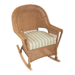 Trade Wind Treasures - Lake Living Treasures Rocker - Includes standard outdoor seat and back cushion. Welded aluminum frame. Covered in hand woven UV protected extruded vinyl. Seat size: 21 in. W x 20 in. H. Weight: 32 lbs.. Warranty