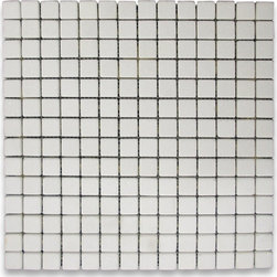 """Stone Center Online - Thassos White 3/4 x 3/4 Square Mosaic Tile Tumbled - Marble from Greece - Premium Grade Grecian Thassos Snow White Marble Tumbled 3/4x3/4"""" Mosaic Wall & Floor Tiles are perfect for any interior/exterior projects such as kitchen backsplash, bathroom flooring, shower surround, countertop, dining room, entryway, corridor, balcony, spa, pool, fountain, etc. Our large selection of coordinating products is available and includes hexagon, herringbone, basketweave mosaics, field, subway tiles, moldings, borders, and more."""