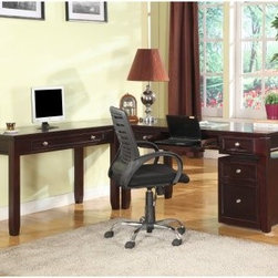 Parker House Boston L-Shaped Desk - Merlot - With a professional look and plenty of work space, the Parker House Boston L-Shaped Desk - Merlot is ideal. This set makes it easy to get tasks done. It includes spacious writing desks that create an L shape. Drawers and a pull-out keyboard tray make life more organized. This set is made of poplar solids and birch veneers drenched in a merlot finish. About Parker HouseFamily-owned and family-operated, Parker House Furniture is based in California and has been serving the fine furniture industry since 1946. The company's time-proven quality is an industry standard. Parker House continues its legacy with its newest line of expanding television consoles and entertainment wall systems, plasma TV stands, and accessories. Parker House takes pride in the quality of its furniture and is committed to making customer satisfaction its number one priority.