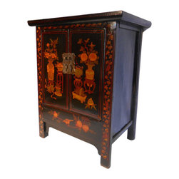 "32"" H Chinese Antique Shoe Cabinet - Around 80 years old these /Pine wood hand painted lacquer cabinets are used for a variety of uses, as storage, entertainment center, night stand or end table or a server cabinet. They are handmade of Solid wood and refurbished in China using old world Chinese wood joinery techniques. No two are the same but all are similar and photos upon request can be provided. These old chest come with a false bottom inside that offers secret storage. We collected these in northern China and have only a limited supply. Simple Ming curved feet with rich black lacquer antique patina with still-life painting in red lacquer color will add an Asian flair to any room decor."