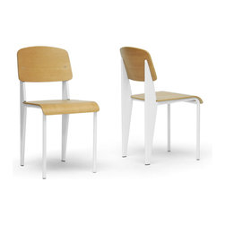 """Wholesale Interiors - Langsam Modern Dining Chair with White Frame, Set of 2 - A successful combination of steel and plywood, our Langsam Mid-Century Chairs have a simplistic but contemporary appeal. With simple materials and beautiful execution of design and construction, these modern dining chairs are decidedly versatile. The plywood seat and backrest sit atop a white powder-coated steel base. Non-marking feet help to protect sensitive wood, tile, or laminate flooring. These chairs are made in China and require assembly. To clean, wipe with a damp cloth. Dimensions: 16""""W x 20.25""""D x 32""""H. Seat Dimensions: 16""""W x 16.5""""D x 18""""H."""