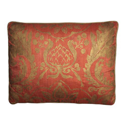 Pair Mediterranean Pillows by Carol Tate - A Pair of Decorative Pillows Which Evoke an Olde World Flavor.  A Carol Tate Original Hand Stencil Printed Design. Down and Feather Filled.