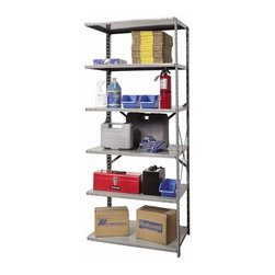 Hallowell - 87 in. High 6-Tier Heavy-Duty Open Utility Shelving - Adder (48 in. W x 24 in. D - Depth: 48 in. W x 24 in. D x 87 in. H. Designed with an open side to link to an existing shelf, this six-tier heavy duty shelving unit will easily turn a messy garage or workshop into a neat, orderly space. Perfect for a variety of uses, the shelving is made of cold rolled steel in gray finish and is available in your choice of sizes. Great addition to Hi-Tech heavy-duty open shelving starter unit. Open style with sway braces. 6 Adjustable shelves. Fabricated from cold rolled steel. Welds are spaced 3 in. on center to provide maximum strength. Sides are triple flanged to form a channel. All 4 corners are lapped and resistance welded to provide a rigid corner and add extra strength to the shelf. Tubular front edge is designed to protect against impact loads. 48 in. W x 12 in. D x 87 in. H. 48 in. W x 18 in. D x 87 in. H. 48 in. W x 24 in. D x 87 in. H. Assembly required. 1-Year warranty