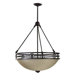"Quorum International - Quorum International 8028-4  Four Light Bowl Pendant Lone Star Collecti - Four light down lighting bowl pendant featuring Amber Scavo GlassRequires 4 75w Medium Bulbs (Not Included)Includes adjustable rods: Two 8"", Two 12"", and Three 16"""