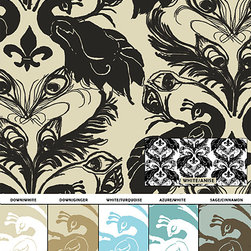 Casart coverings - Removable & Reusable Peacock Patterns - Quill is light and feathery (pardon the pun) drifting airily across the ground, while the French Peacock Damask is unmistakably French with its fleur de lis! Available both in soft palettes as well as a bold, opulent and spicy colors, giving a modern take on classic design.