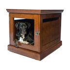 DenHaus - TownHaus Medium Mahogany Pet Den - - Only the TownHaus is a superbly sturdy piece of furniture on the outside and the cozy space your dog craves on the inside. - Features a uniquely designed door with removable grate; so you can allow your pets to come and go freely, or safely secure them. - *Good to know: Best suited for dogs that are crate trained and not prone to destructive chewing. - The finish is non-toxic and free of mercury, lead, cadmium and chromium.- Weight: 89 lbs.