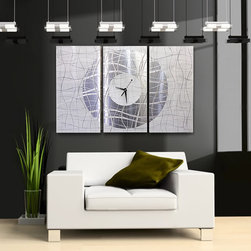 """Contemporary Vibrations"" - Abstract Metal Wall Clock by Jon Allen - A Jon Allen Fine Metal Abstract Wall Clock"