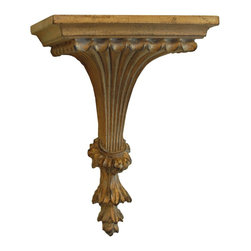 Hickory Manor House - Fluted Leaf Bracket in Ornate Finish - Vintage original. Custom made by artisans unfortunately no returns allowed. Enhance your decor with this graceful bracket. Made in the USA. Made of pecan shell resin. 9.75 in. W x 7.25 in. D x 13.5 in. H (5 lbs.)