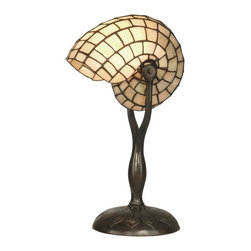 Dale Tiffany - Dale Tiffany TT10346 Nautilus Snail Modern / Contemporary Table Lamp - Add a splash of whimsy to your home or office with our beige nautilus table lamp. Lovingly  recreated from the original in a creamy beige that will compliment any décor. The shade is curved  to replicate a underwater snail. The solid bronze base is finished in antique verdigris.