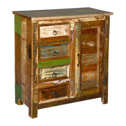 """Sierra Living Concepts - Grandpa's Attic Reclaimed Wood 32"""" Standing 4-Drawer Cabinet - Create a relaxed and casual style to any room with our Rustic Grandpa's Attic Cabinet. This solid wood storage system has four side drawers and a three shelf side cupboard."""