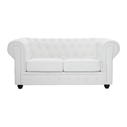 """LexMod - Chesterfield Loveseat in White - Chesterfield Loveseat in White - There is something very recognizable about the Chesterfield Armchair. While fashioned with a tufted back, and large rounded arms, the most distinctive aspect is arguably the deep buttons. Their careful positioning throughout helps portray both an aristocratic and settled feel at the same time. First named in 1900 after the Earl of Chesterfield who commissioned it, recognize the ability to join individual elements as you completely inspire your room. Set Includes: One - Chesterfield Loveseat in Leather & Leather Match For areas seeking cultured elegance, Tightly tailored rolled arms, Deep tufting for maximal effect, Genuine leather seat and back, Steel base with solid wood legs Overall Product Dimensions: 69""""L x 37.5""""W x 31.5""""H Seat Height: 16.5""""H - Mid Century Modern Furniture."""