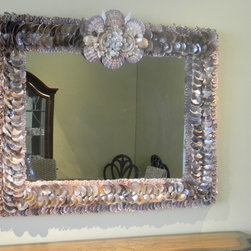 Pearl Star mirror - Pealized oyster shells with crown. Size 3' x 4' Other sizes available apon request.