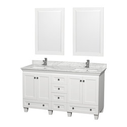 Wyndham Collection - Acclaim White/ Carrera Marble 60-inch Double Bathroom Vanity Set - Put an end to the chaos of the morning rush with this double bathroom vanity set that gives you both room to primp. This set is made from wood with a marble top and porcelain sink bowls. For added convenience,it has six roomy drawers.