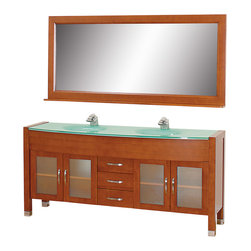 """Wyndham - Daytona 71"""" Double Bathroom Vanity Set - Cherry/Green Glass - The Daytona 71"""" Double Bathroom Vanity Set - a modern classic with elegant, contemporary lines. This beautiful centerpiece, made in solid, eco-friendly zero emissions wood, comes complete with mirror and choice of counter for any decor. From fully extending drawer glides and soft-close doors to the 3/4"""" glass or marble counter, quality comes first, like all Wyndham Collection products. Doors are made with fully framed glass inserts, and back paneling is standard. Available in gorgeous contemporary Cherry or rich, warm Espresso (a true Espresso that's not almost black to cover inferior wood imperfections). Transform your bathroom into a talking point with this Wyndham Collection original design, only available in limited numbers. All counters are pre-drilled for single-hole faucets, but stone counters may have additional holes drilled on-site.;Features: Constructed of environmentally friendly, zero emissions solid Oak hardwood, engineered to prevent warping and last a lifetime;12-stage wood preparation, sanding, painting and finishing process;Minimal assembly required;Highly water-resistant low V.O.C. sealed finish;Available pre-drilled for single-hole ;Unique and striking contemporary design;Practical Floor-Standing Design;Deep doweled drawers;Fully extending side-mount drawer slides;Soft-close concealed door hinges;Single-hole faucet mount ;Metal hardware with brushed chrome finish;Plenty of storage space;Brushed steel leg accents;Plenty of counter space;Includes drain and P-traps for easy assembly;Includes matching mirror;4 doors, 3 drawers;Weight: 380 lbs.;Dimensions: Vanity 70-3/4 x 22 x 33-1/2;Mirror 70-3/4 x 5 x 32"""