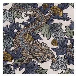 Aqua Chinoiserie Dragon Fabric - Modern chinoiserie dragon in red, teal, gray & gold. So chic it will steal the show in any room.Recover your chair. Upholster a wall. Create a framed piece of art. Sew your own home accent. Whatever your decorating project, Loom's gorgeous, designer fabrics by the yard are up to the challenge!