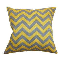 "The Pillow Collection - Xayabury Zigzag Pillow Ash Corn Yellow 18"" x 18"" - Bring a sunny twist to your space with this bright-colored zigzag throw pillow. This accent pillow comes with a gorgeous zigzag print pattern in ash and corn yellow color combination. This square pillow is a lovely statement piece to add in your sofa, bed or sectionals. This 18"" pillow is ideal for casual and formal settings. Made from 100% soft cotton fabric. Hidden zipper closure for easy cover removal.  Knife edge finish on all four sides.  Reversible pillow with the same fabric on the back side.  Spot cleaning suggested."