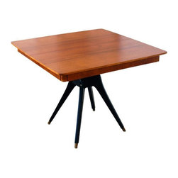 Used Mid-Century Teak Pedestal Square Dining Table - Hello gorgeous! A beautiful Mid-Century teak dining table with an ebonised pedestal base. The perfect size for an eat in kitchen or breakfast nook.