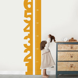 Growth Chart Numbers Wall Decal - Not just any growth chart, this growth chart has a strip of white vinyl down the middle so that you can mark the progress of your child's growth. Use a marker or a sharpie and track your child's growth!