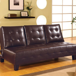 Coaster - Dark Brown Contemporary Sofa Bed - Sofa bed constructed of a kiln dried hardwood frame, sinuous spring base and wood legs. Middle custom drops down to be used as a table or cup holder.