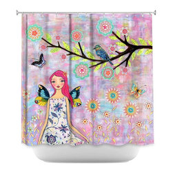 DiaNoche Designs - Shower Curtain Artistic - Butterfly Fairy - DiaNoche Designs works with artists from around the world to bring unique, artistic products to decorate all aspects of your home.  Our designer Shower Curtains will be the talk of every guest to visit your bathroom!  Our Shower Curtains have Sewn reinforced holes for curtain rings, Shower Curtain Rings Not Included.  Dye Sublimation printing adheres the ink to the material for long life and durability. Machine Wash upon arrival for maximum softness. Made in USA.  Shower Curtain Rings Not Included.