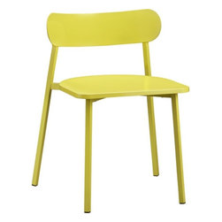 Fleet Chartreuse Chair - I can imagine six of these high-gloss steel chairs around a rustic wood dining table. I'm a big fan of a little mod with a little earth and a tasteful amount of color.